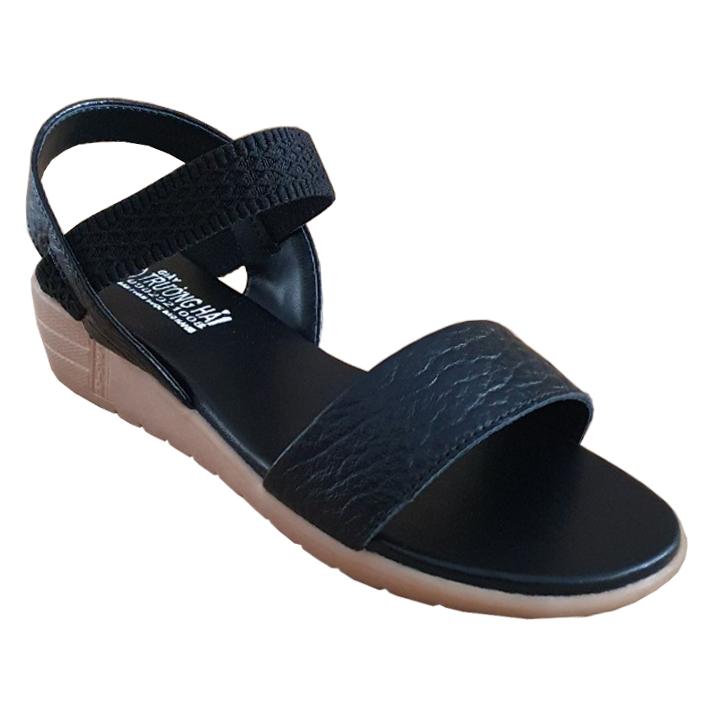 Giày Sandal Đế Xuồng 4cm Trường Hải SD134 , Giày Đế Xuồng Nữ Da Bò Thật Cao Cấp  Màu Đen