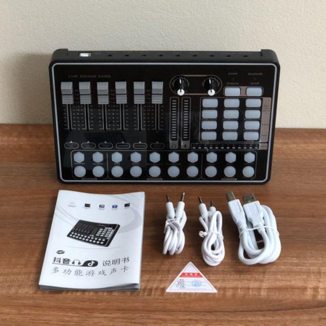 Thiết bị thu âm livestream hát karaoke online sound card H9 ( K9 ) có bluetooth để lấy nhạc