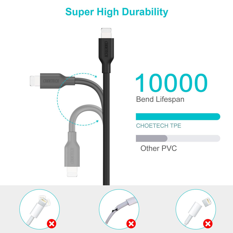 Dây cáp sạc nhanh 30W chuẩn PD 3.0 Type-C to Lightning dài 180cmhiệu CHOETECH IP0036 cho iPhone / iPad (trang bị chip sạc thông minh, tốc độ truyền tải dữ liệu tốc độcao 480Mbps) - Hàng chính hãng