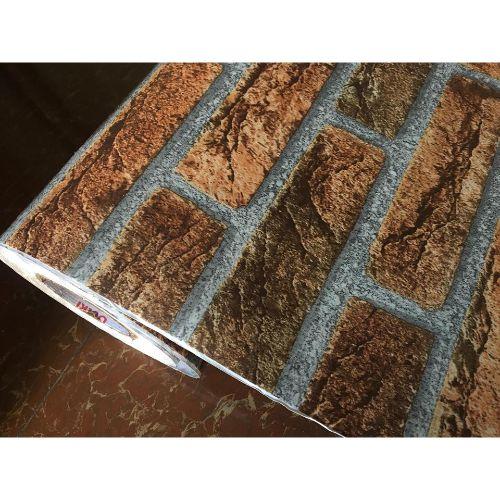5m giấy decal cuộn gạch nâu cam  DTL123(60x500cm)