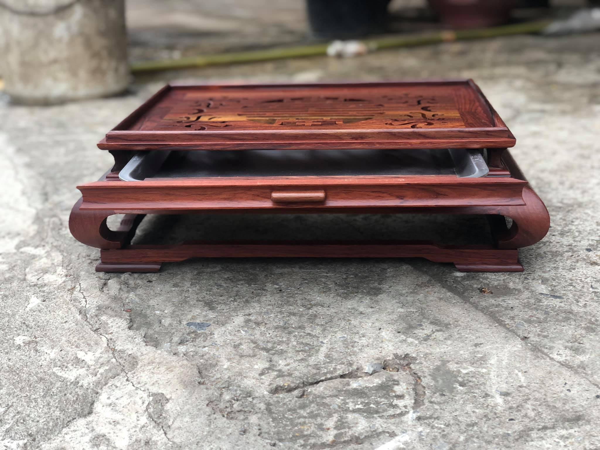 Khay trà gỗ Cẩm hàng cực độc, đẹp, cầu kì kt 47x37x16