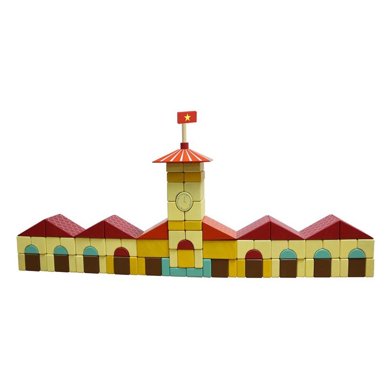 Bộ Xếp Hình Bằng Gỗ Chợ Bến Thành Colligo - 10318