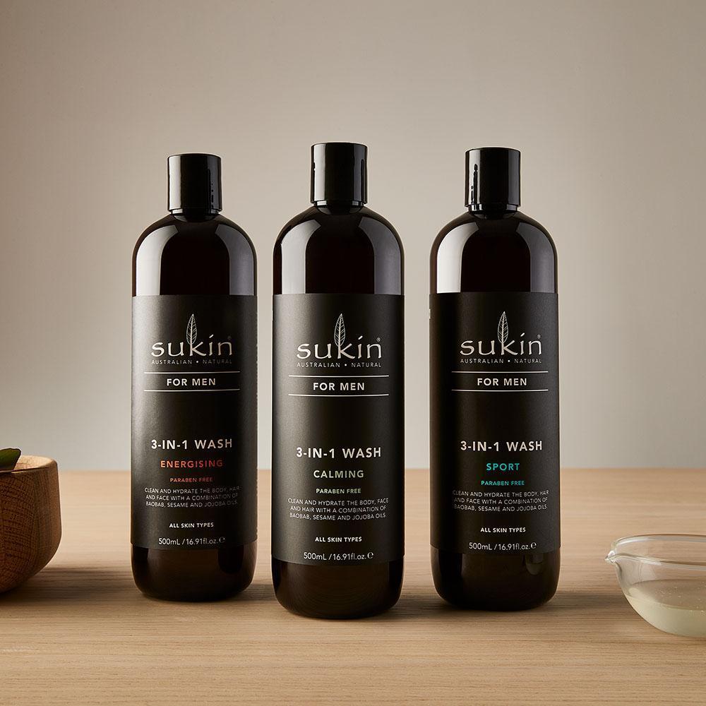 Sukin Sữa Rửa Mặt Tắm Gội Toàn Thân Dành Cho Nam 3 Trong 1 –Dịu Êm  (Sukin for men 3 in 1 Wash Calming) 500ml