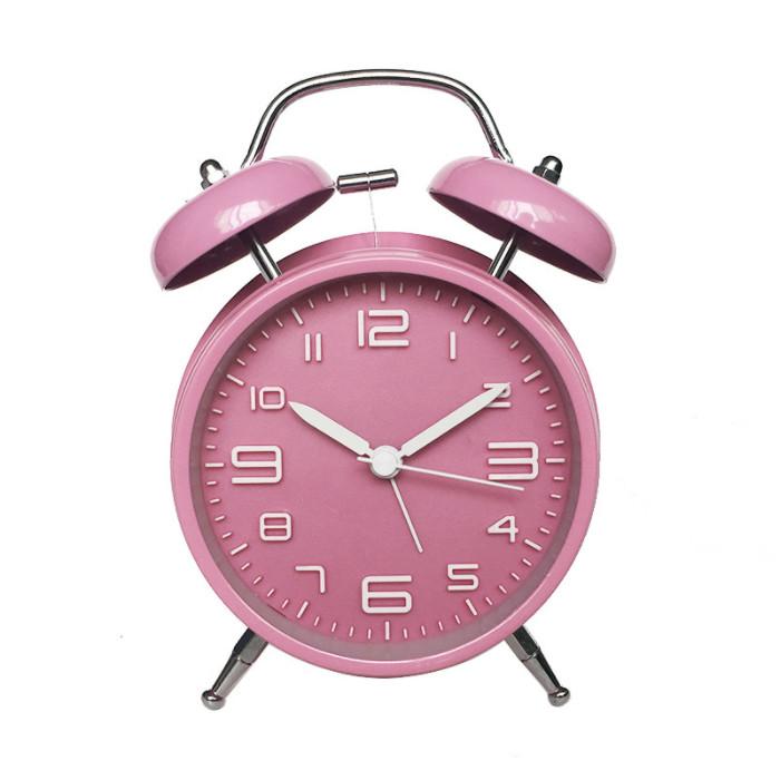 Đồng hồ báo thức để bàn phong cách cổ điển kim loại cao cấp có đèn