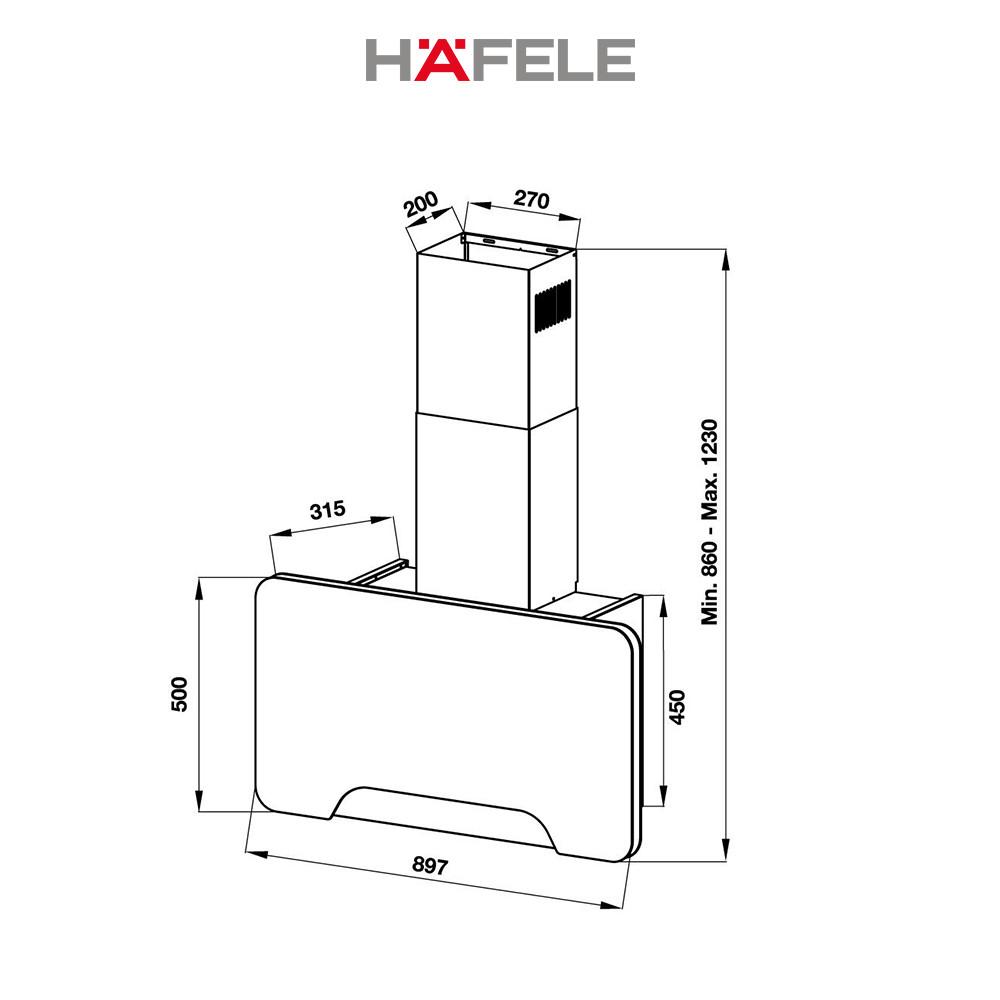 Máy Hút Mùi Treo Tường Hafele HH-WVGS90A (90cm) - 533.80.203 Xuất Xứ Châu Âu Kèm Than Hoạt Tính (Hàng chính hãng)