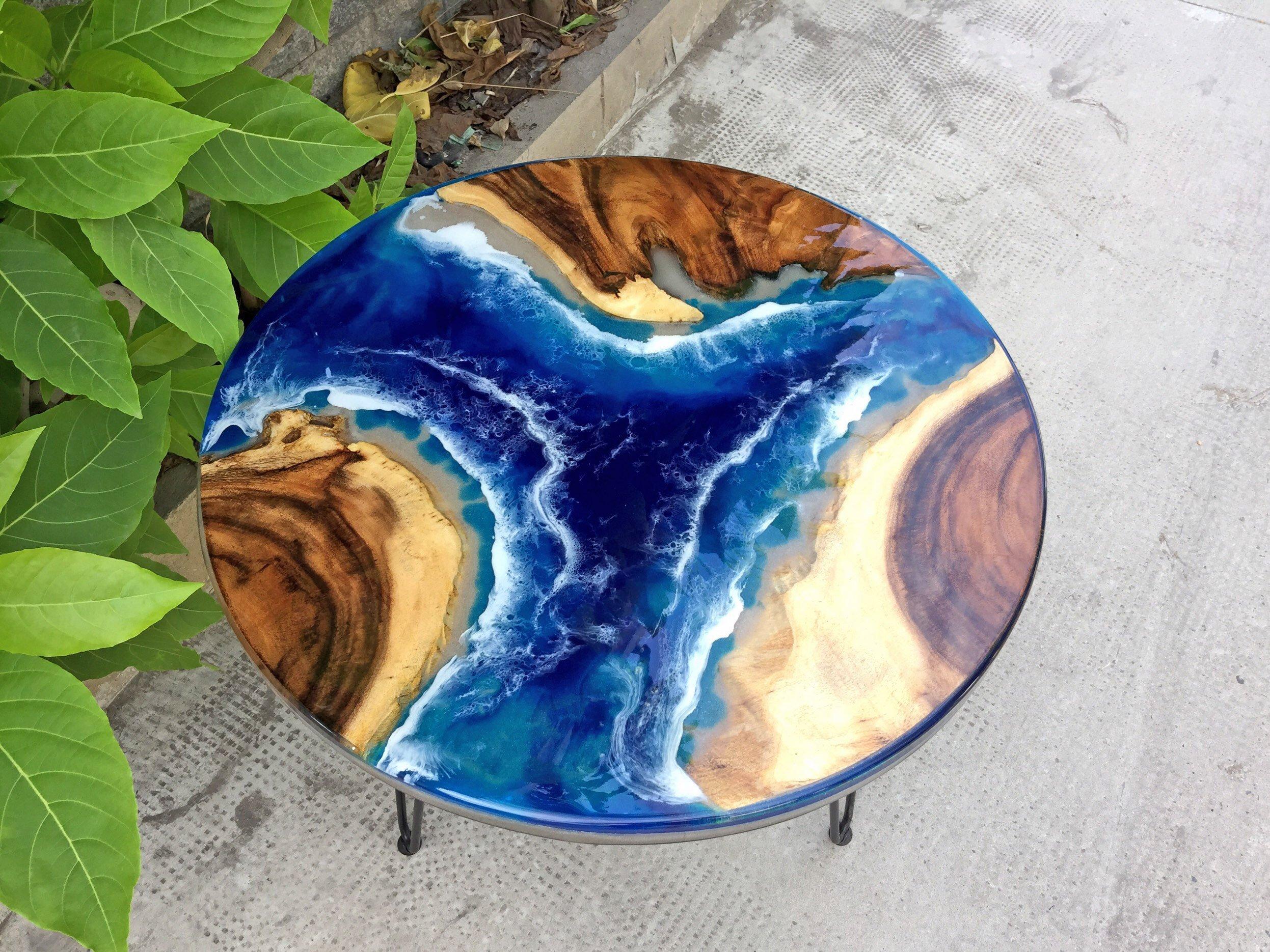 Bàn Đổ Keo Epoxy Resin - Bàn Tròn Epoxy Sóng Biển