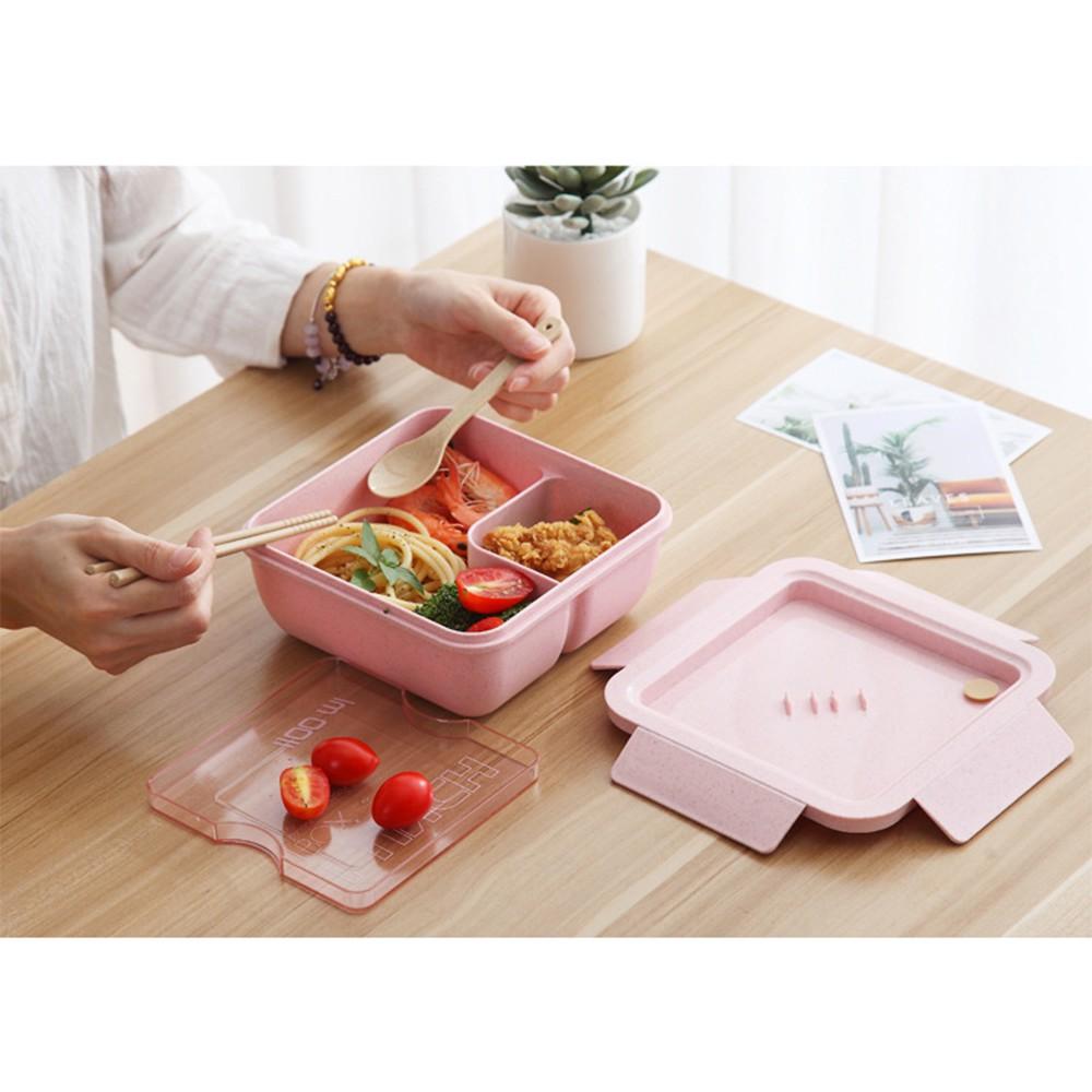 Hộp cơm lúa mạch 2 ngăn có muỗng đũa 1100 ml Kèm Khăn giấy ăn bỏ túi siêu tiện lợi Nhật Bản (Giao màu ngẫu nhiên)