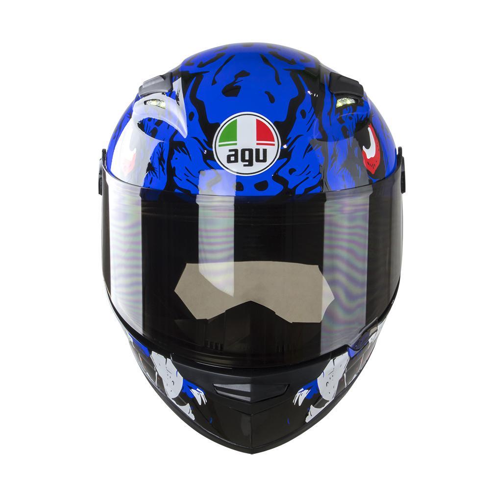 Nón Fullface AGU Tem 38 Xanh Dương Kèm Sừng Batman Sẵn keo siêu chất dành cho phượt thủ_ Mũ bảo hiểm có kính