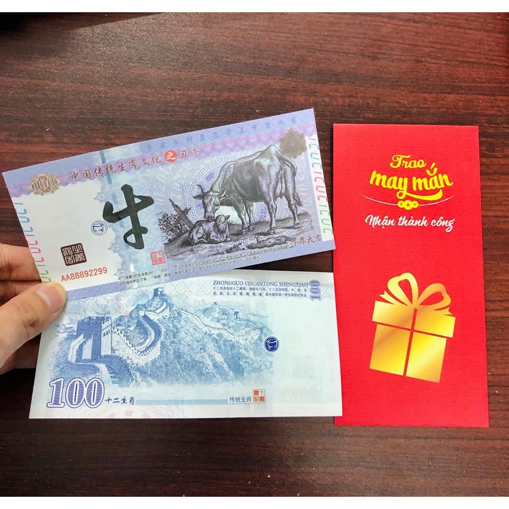 Tờ tiền hình trâu 100 Trung Quốc , tặng kèm bao lì xì