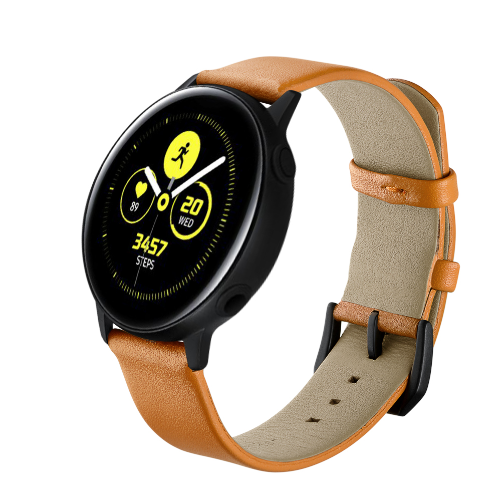 Dây Da Light Brown Size 20mm cho Galaxy Watch 3 41mm, Galaxy Watch Active 2, Galaxy Watch 42