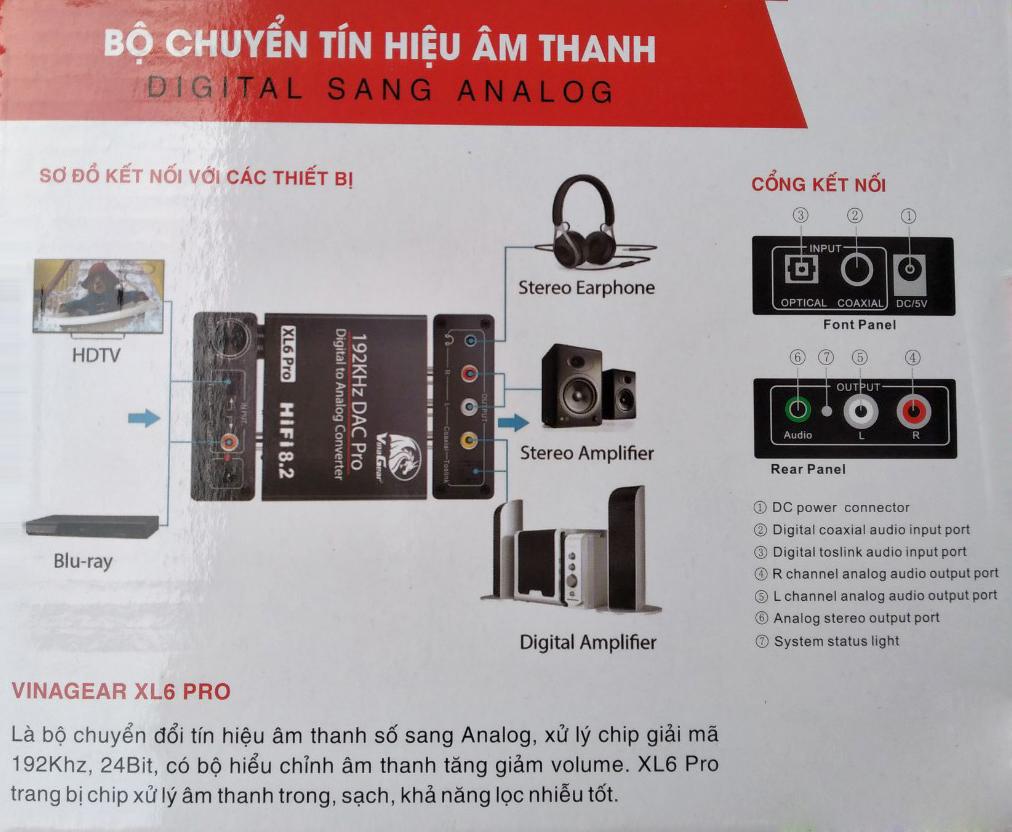 Bộ Chuyển Tín Hiệu Âm Thanh Digital Sang Analog-XL6 Pro