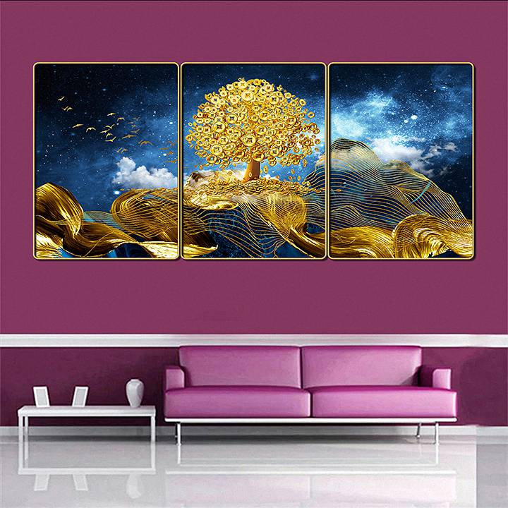 Bộ tranh treo tường 3 tấm trang trí phòng khách, phòng ngủ phong cách mỹ thuật hiện đại chất liệu cán pvc gương:4425L15S