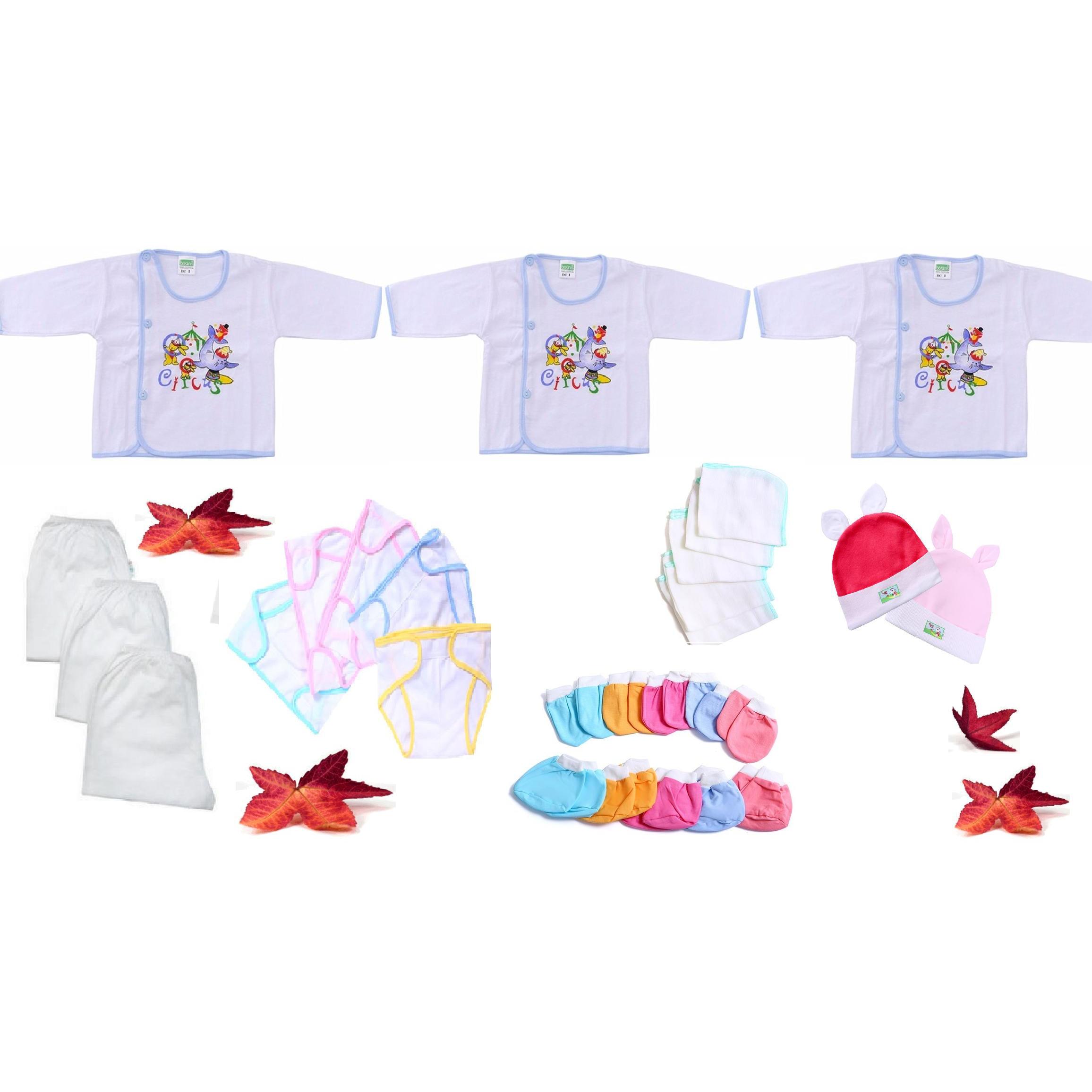 Combo 28 món đồ cho trẻ sơ sinh từ 0 đến 6  tháng tuổi3 áo  3 quần dài  5 tã dán  5 khăn sữa  5 đôi bao tay  5 đôi bao chân  2 nón thỏ - size3 - tay dài