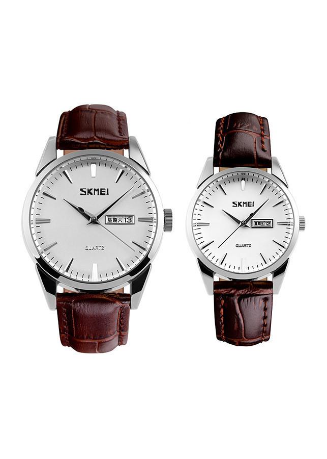 Đồng hồ đôi dây da Skmei 90TCK73