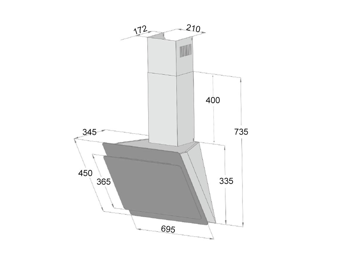 Máy hút mùi kính vát Dann DS700 Titanium - Hàng chính hãng