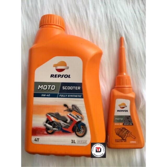 Repsol Scooter 5W40 1L + Nhớt hộp số Repsol Gear Oil 80W90 120ml ( bộ nhớt dùng cho xe tay ga cao cấp tổng hợp)
