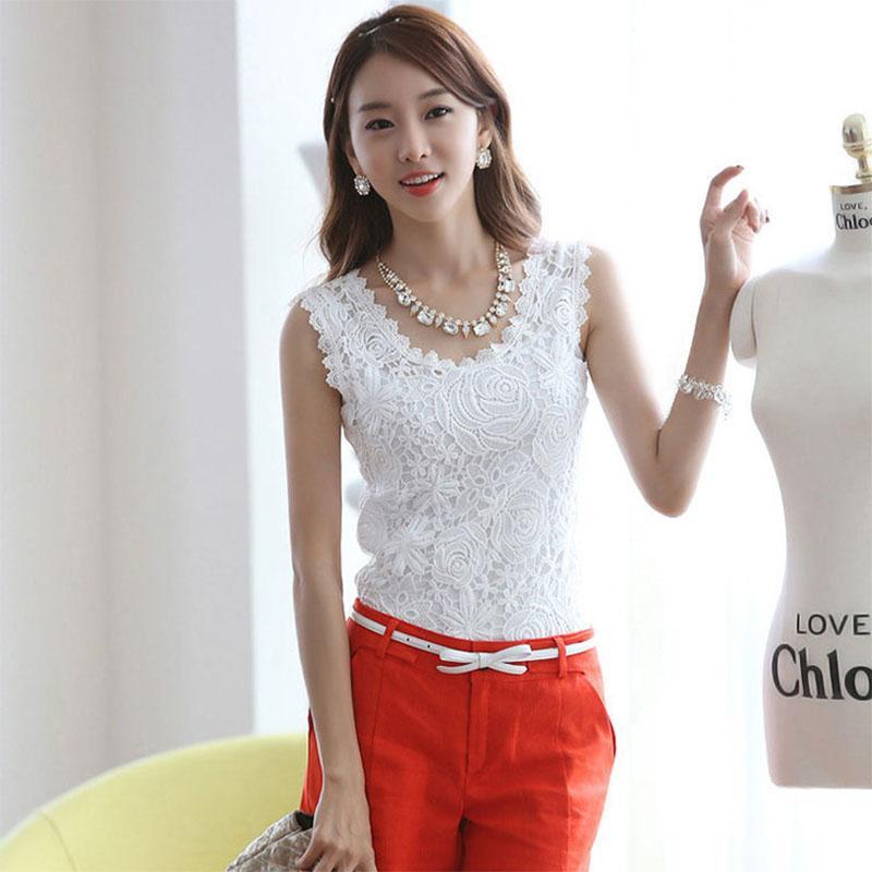 Women Summer Sleeveless Slim-Fit Lace Shirt Vest - White Size XXL