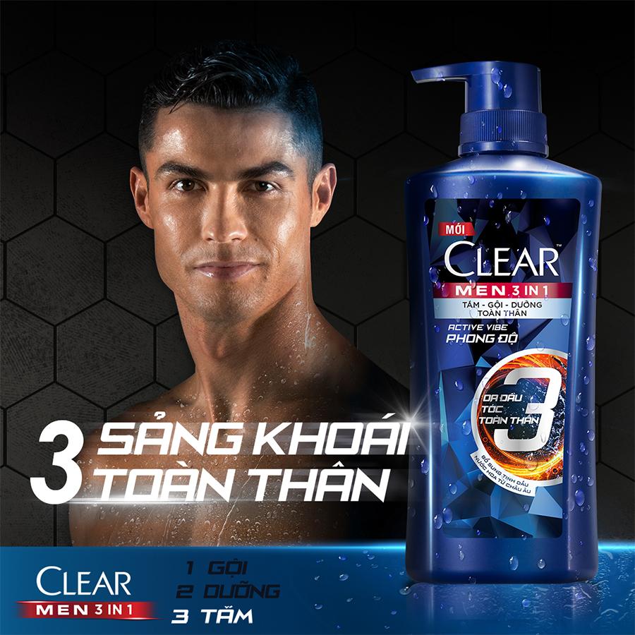 Dầu Tắm Gội Clear Men 3 Trong 1 - Active Vibe Phong Độ (630g)