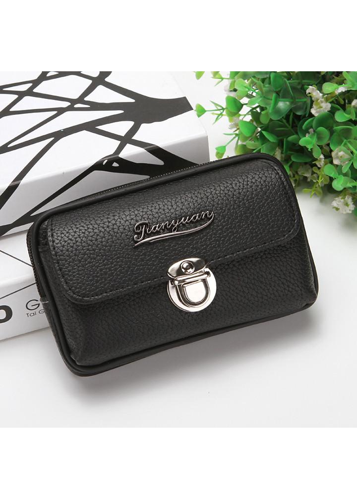 Túi đựng điện thoại da PU đeo ngang hông kiểu ngang T9 khóa gài trước - Túi đeo thắt lưng giả da kiểu ngang - nâu, đen.