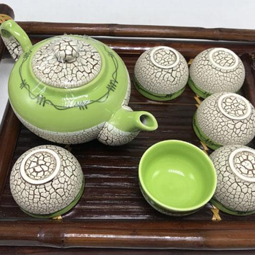 Bộ bình trà ( Ấm chén ) men rạn trứng xanh lá MNV-BT198-1