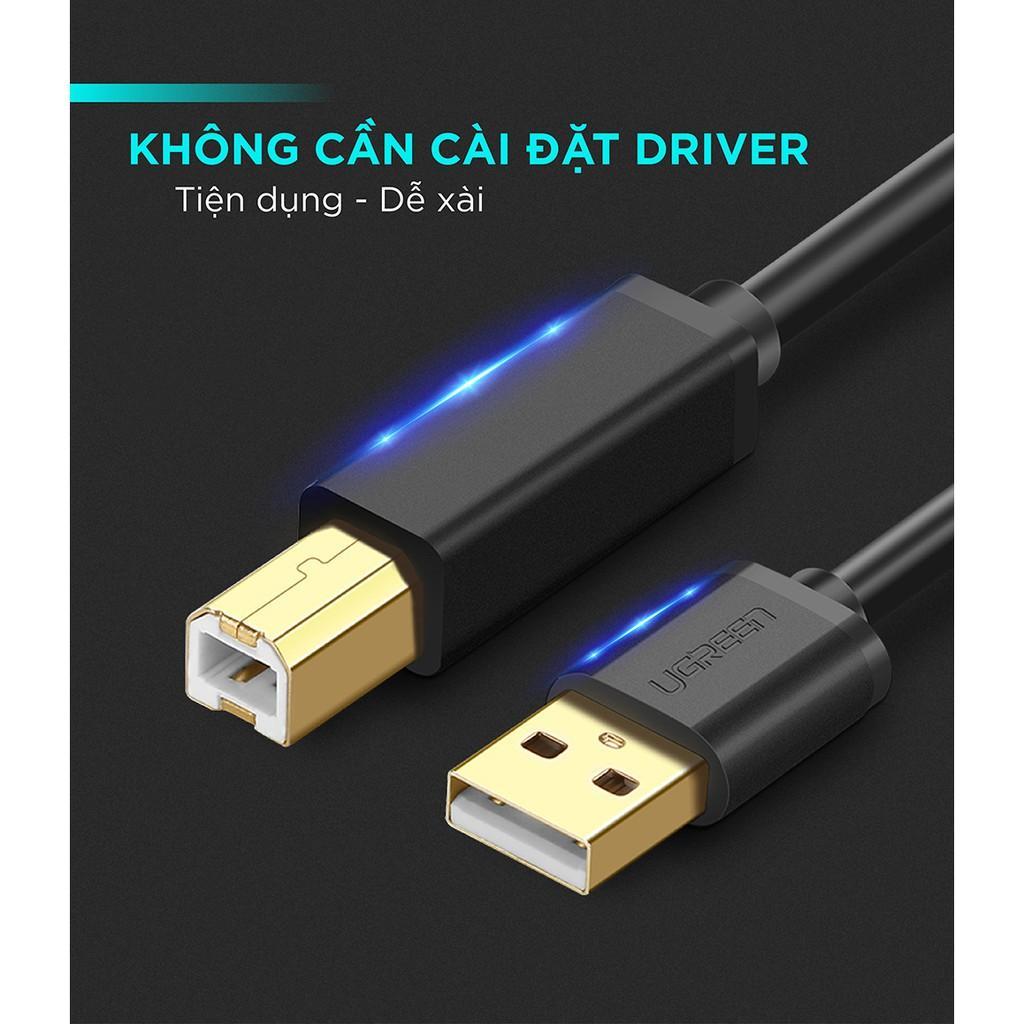 Dây máy in USB 2.0 chuẩn A đực sang chuẩn B đực độ dài từ 1-5m UGREEN US135 - Hàng Chính hãng