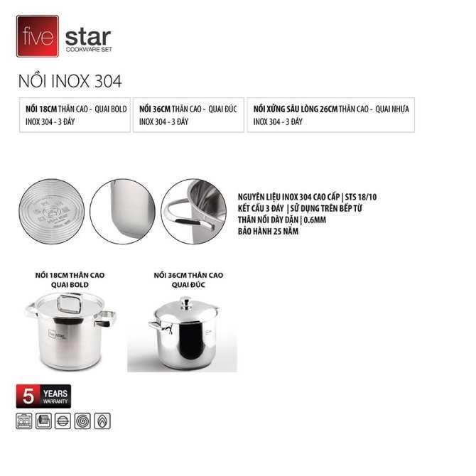 Nồi 3 đáy Inox 304 quai vuông nắp kính Fivestar Plus 20cm