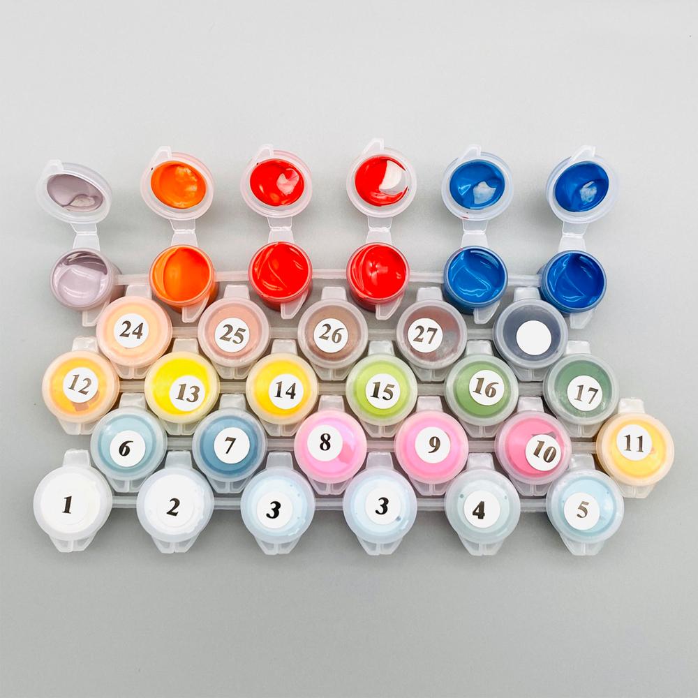 Tranh sơn dầu số hóa tô màu theo số Hoa mẫu đơn HL4092