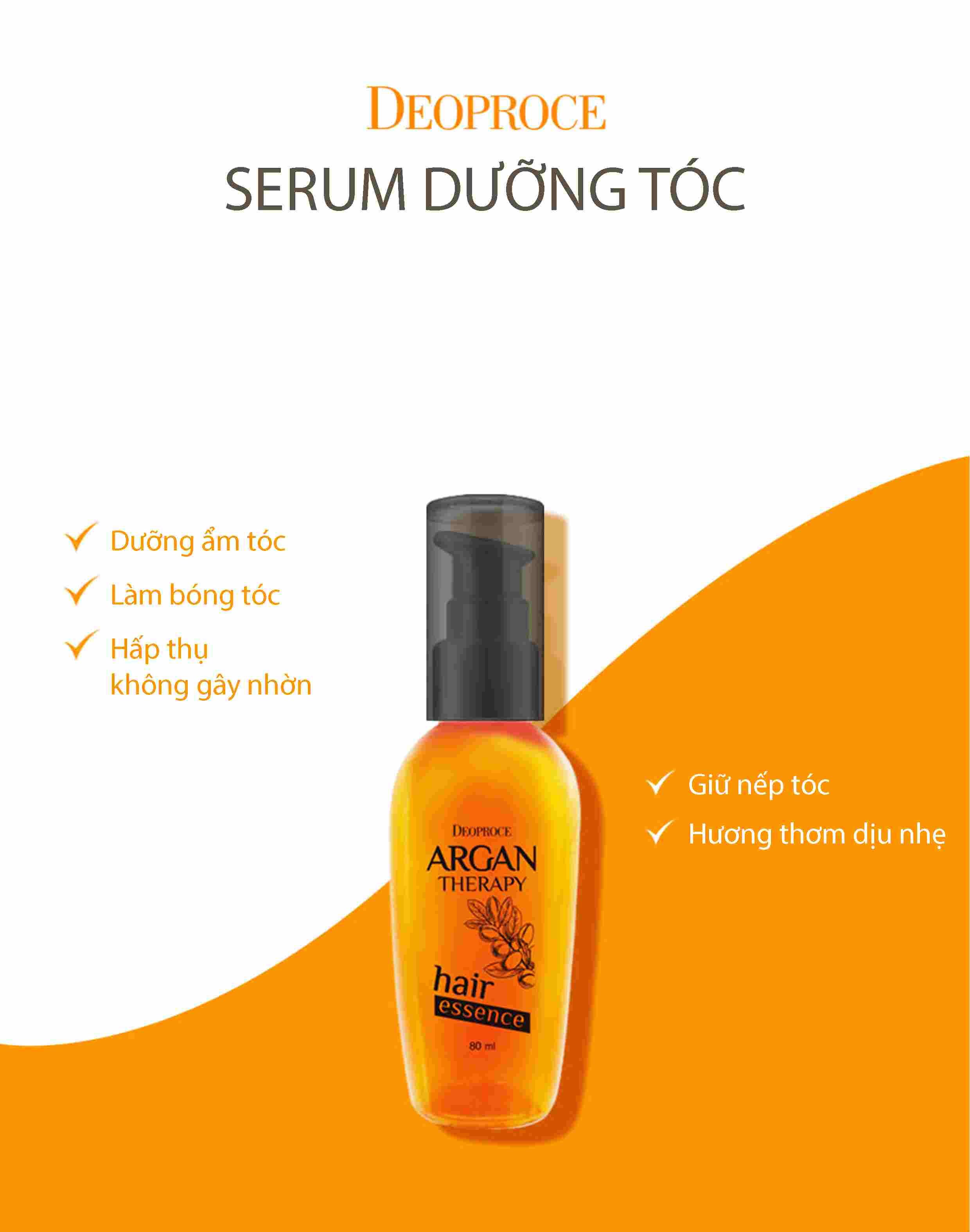 Tinh dầu dưỡng tóc Deoproce Argan Therapy Hair Essence 80ml phục hồi tóc hư tổn