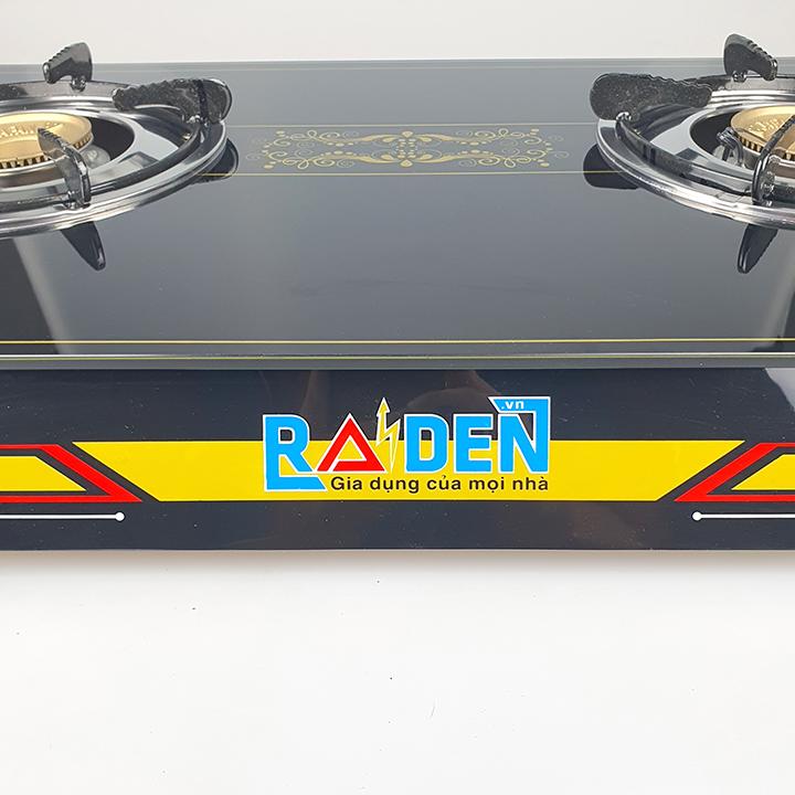 Bếp Ga Đôi Raiden RD-369 Mặt Kiếng Cường Lực Đầu Đốt Đồng Khung Inox Bền Bỉ (Hoa Văn Ngẫu Nhiên)-Hàng Chính Hãng