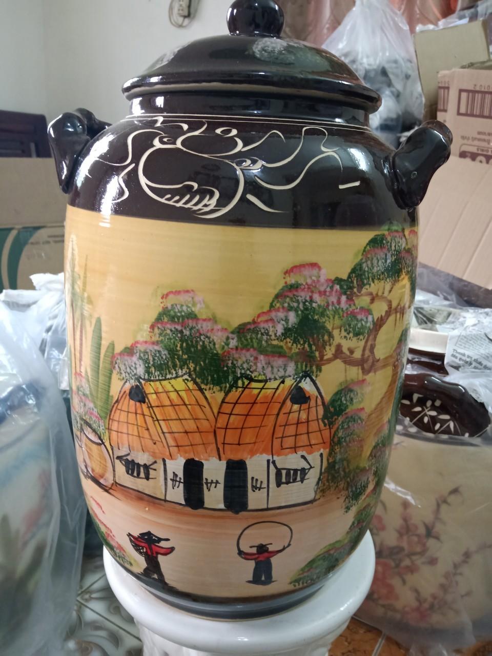 Hũ đựng rượu gạo Bát Tràng vẽ phong cảnh loại 20L