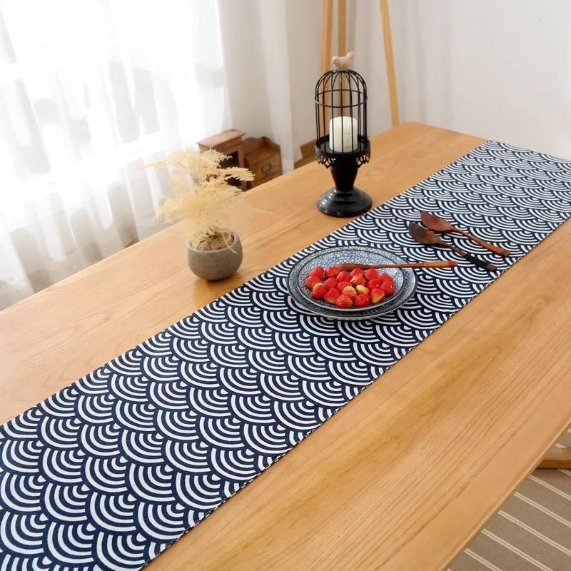 Khăn trải bàn table runner vải bố - Họa tiết Sóng cong - mẫu G07
