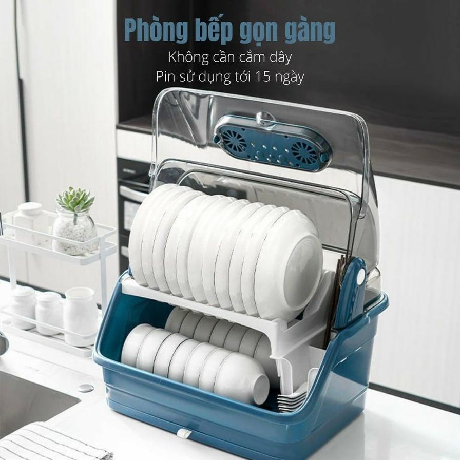 [NEW 2021] Tủ đựng bát đĩa khử trùng bằng tia UV có nắp đậy - Máy sấy bát đĩa khử khuẩn - Kệ đựng chén bát 2 tầng