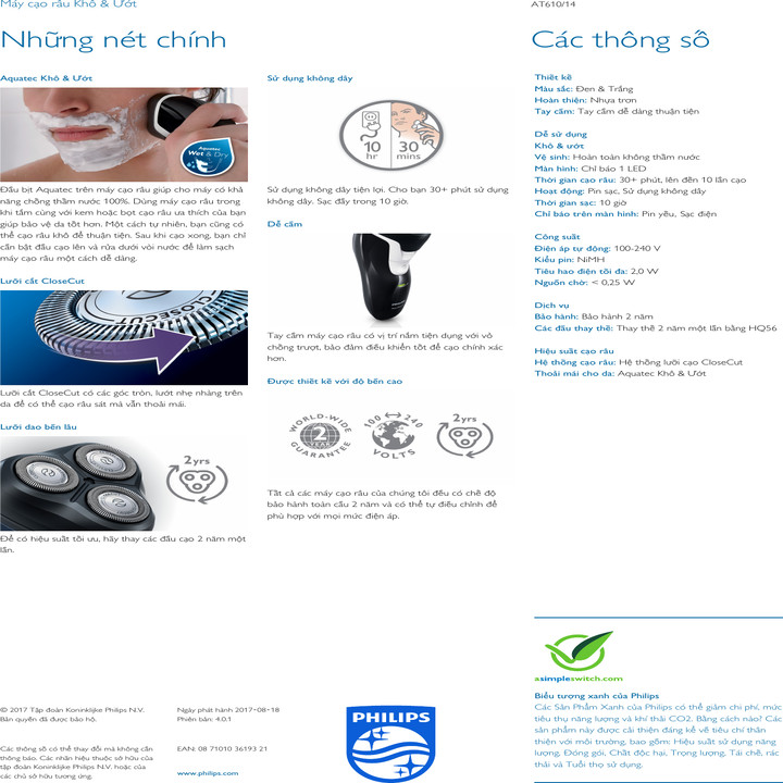 Máy Cạo Râu Philips Cao Cấp AT610 - Hàng chính hãng