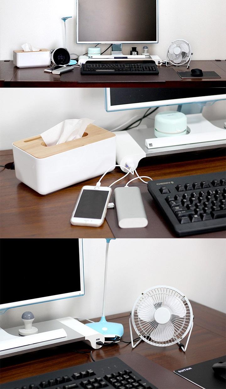 Kệ đỡ màn hình máy tính ( CHÂN ĐẾ CHỐNG TRƯỢT, BỐN CỔNG USB ) - Tặng kèm 01 móc khóa tô vít ba chức năng