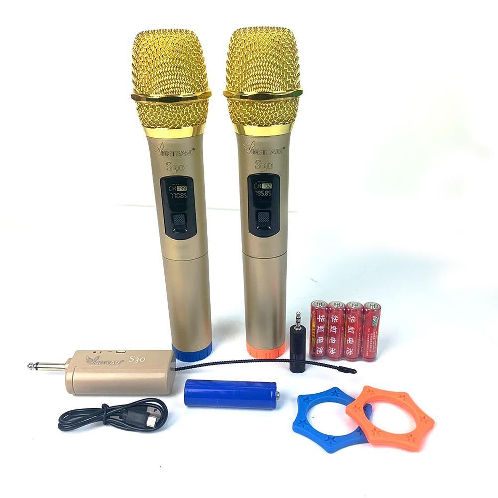 Bộ 2 Micro Không Dây karaoke VINETTEAM S30 cao cấp ,Sóng UHF Dành Cho Amly , Loa Kéo - Hỗ Trợ Các Thiết Bị Có Jack Cắm 3.5mm Và 6.5mm 2 Chống Lăn Mic , 04 Viên Pin- Hàng chính hãng