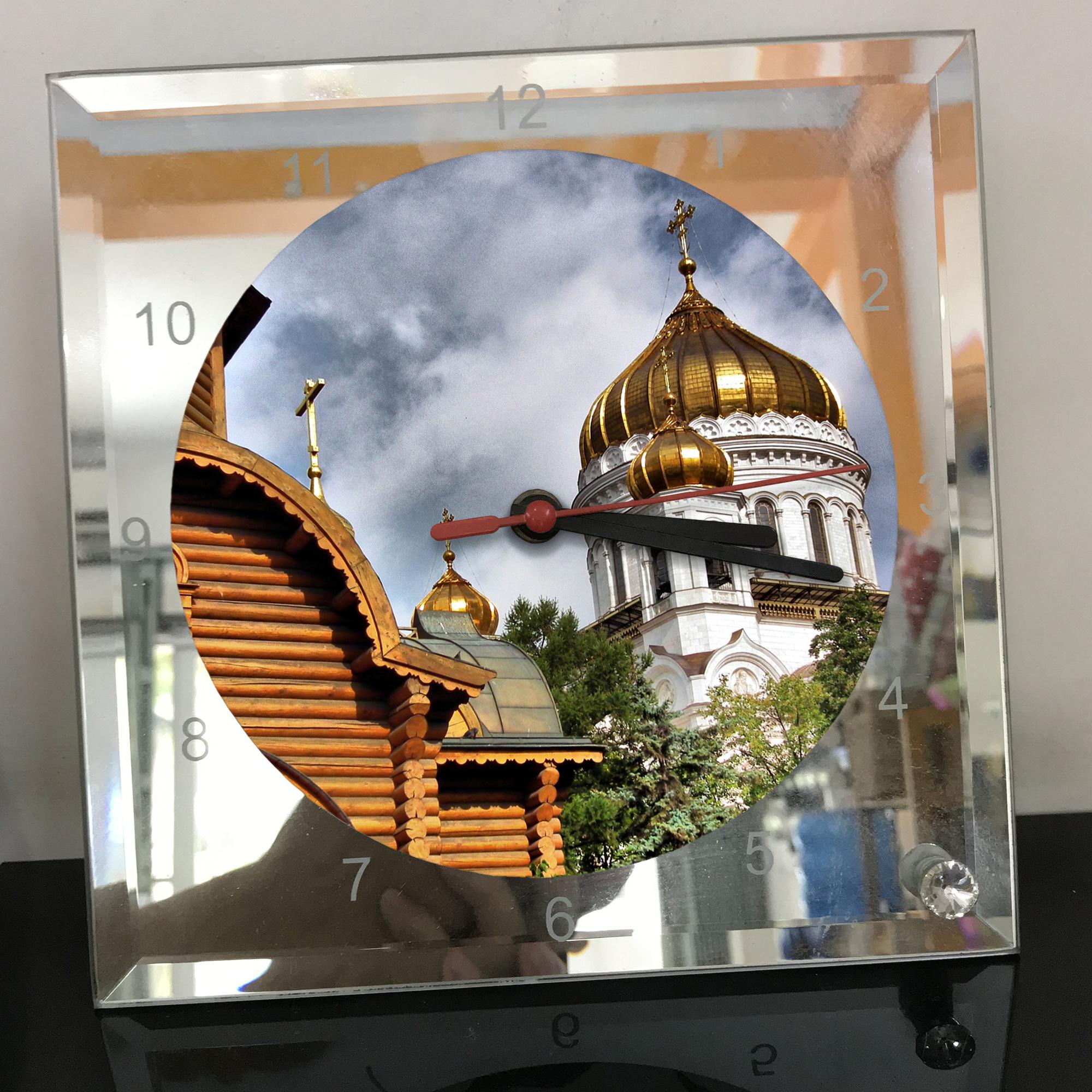 Đồng hồ thủy tinh vuông 20x20 in hình Cathedral Of Christ the saviour (49) . Đồng hồ thủy tinh để bàn trang trí đẹp chủ đề tôn giáo