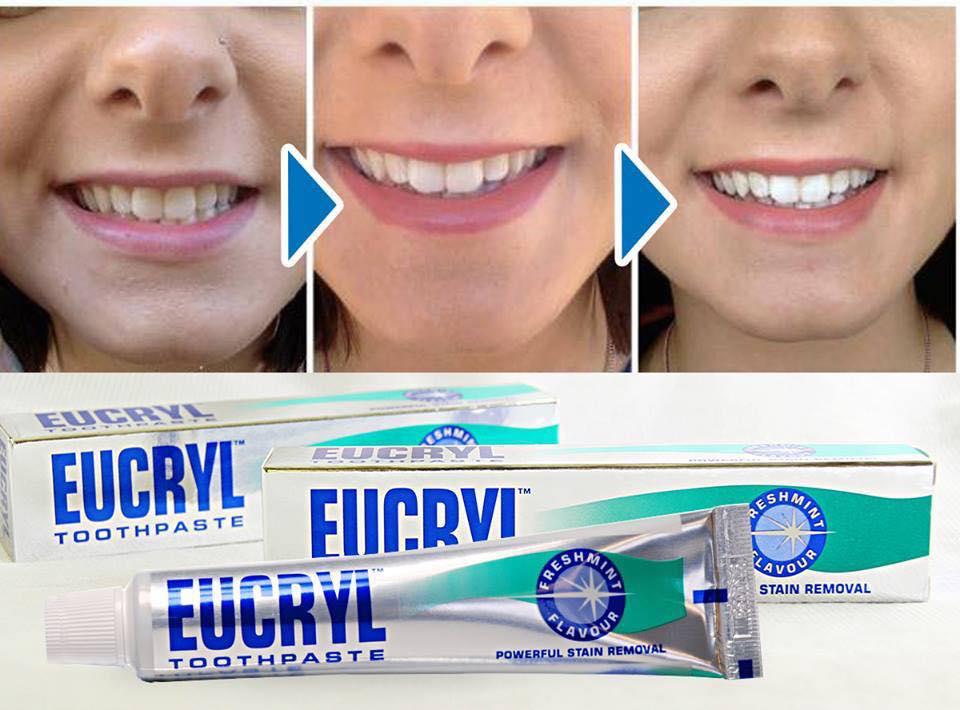 Combo kem đánh răng 62g và bột tẩy trắng răng Eucryl 50g (Chính hãng) |  Tiki.vn