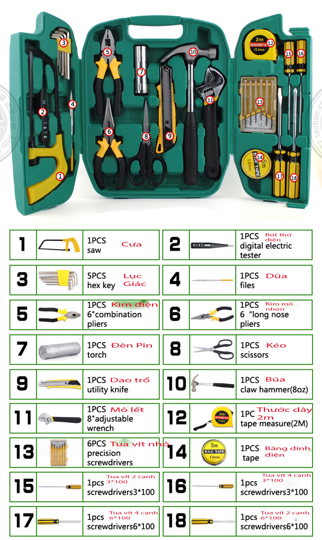 Bộ dụng cụ sửa chữa đa năng 27 món kèm hộp đựng tiện dụng