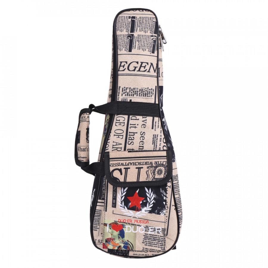 24 Ukelele Bag Case Paper Pattern Oxford Backpack Adjustable Shoulder Strap Pocket 6mm Thicken Padded 24