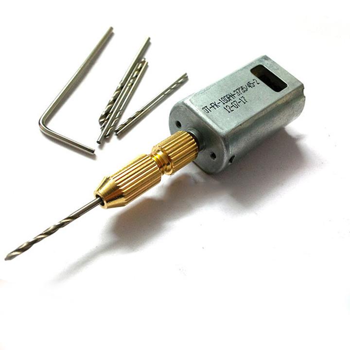 Combo máy khoan mini 180 5V Siêu Khỏe V1 ( gồm 01 động cơ 180, 01 đầu kẹp 2015, mũi khoan 0.8-1.0-1.2-1.5mm mỗi loại 2 chiếc )