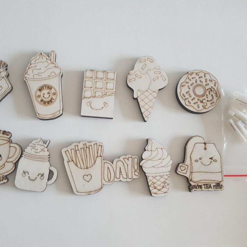 Đồ chơi tô màu huy hiệu bằng gỗ, chủ đề đồ ăn, gắn trang trí balo, túi xách, quà tặng cho bé từ 3 tuổi