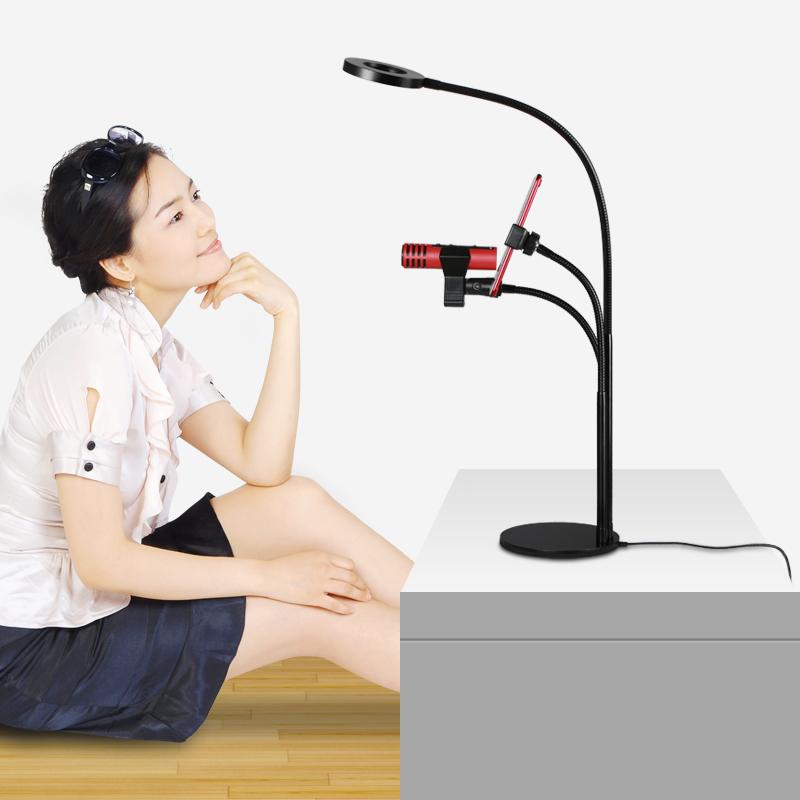 Dụng cụ livestream bán hàng kẹp bàn có đèn 3 trong 1