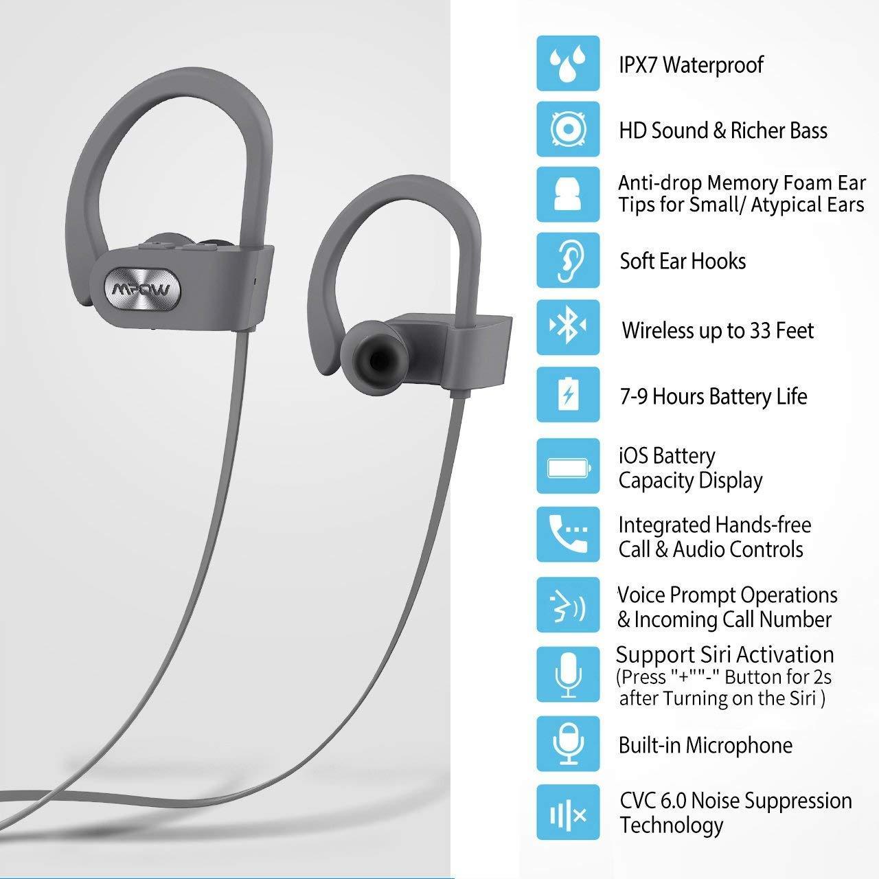 Tai Nghe Thể Thao Chống Nước IPX7 MPOW Bluetooth Cao Cấp HM03 - Hàng Chính Hãng