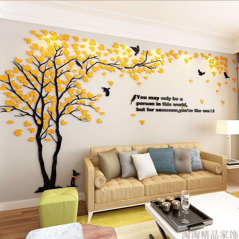 Tranh dán tường mica 3D - Cây tình nhân vàng, trang trí phòng khách, phòng ngủ, spa, khách sạn, quán cafe