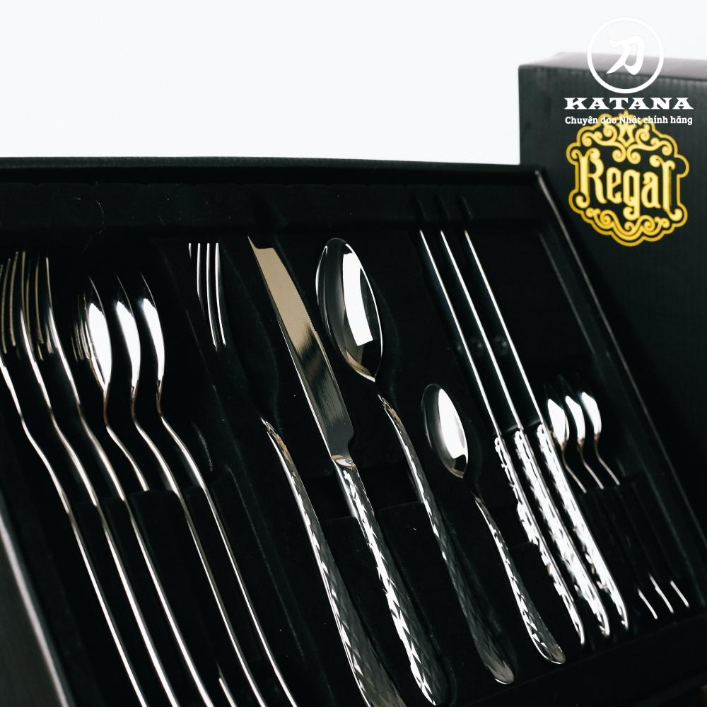 Bộ 16 chiếc thìa dĩa cao cấp REGAL quả trám Crystal VTK-03