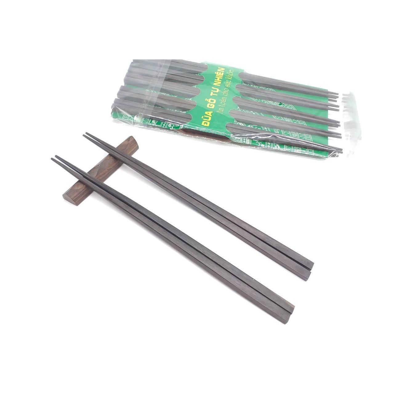Đũa gỗ Mun Vuông trơn 25cm- Bộ 5 đôi (D02)