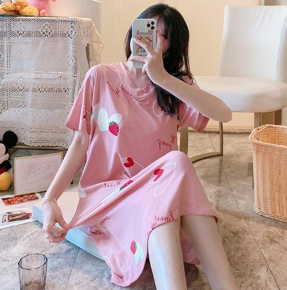Váy ngủ bầu, sau sinh và cho con bú_cổ tim dâu hồng