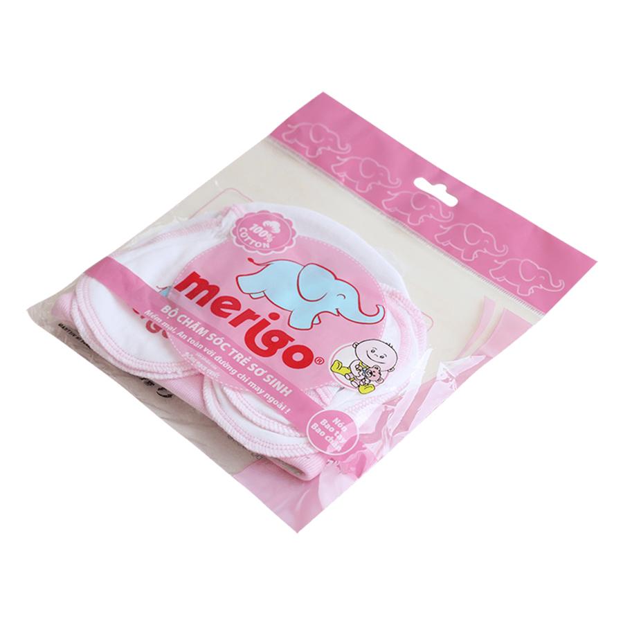Bộ Chăm Sóc Trẻ Sơ Sinh Merigo Bông Bạch Tuyết TP-BABY01 - Trắng Viền Hồng