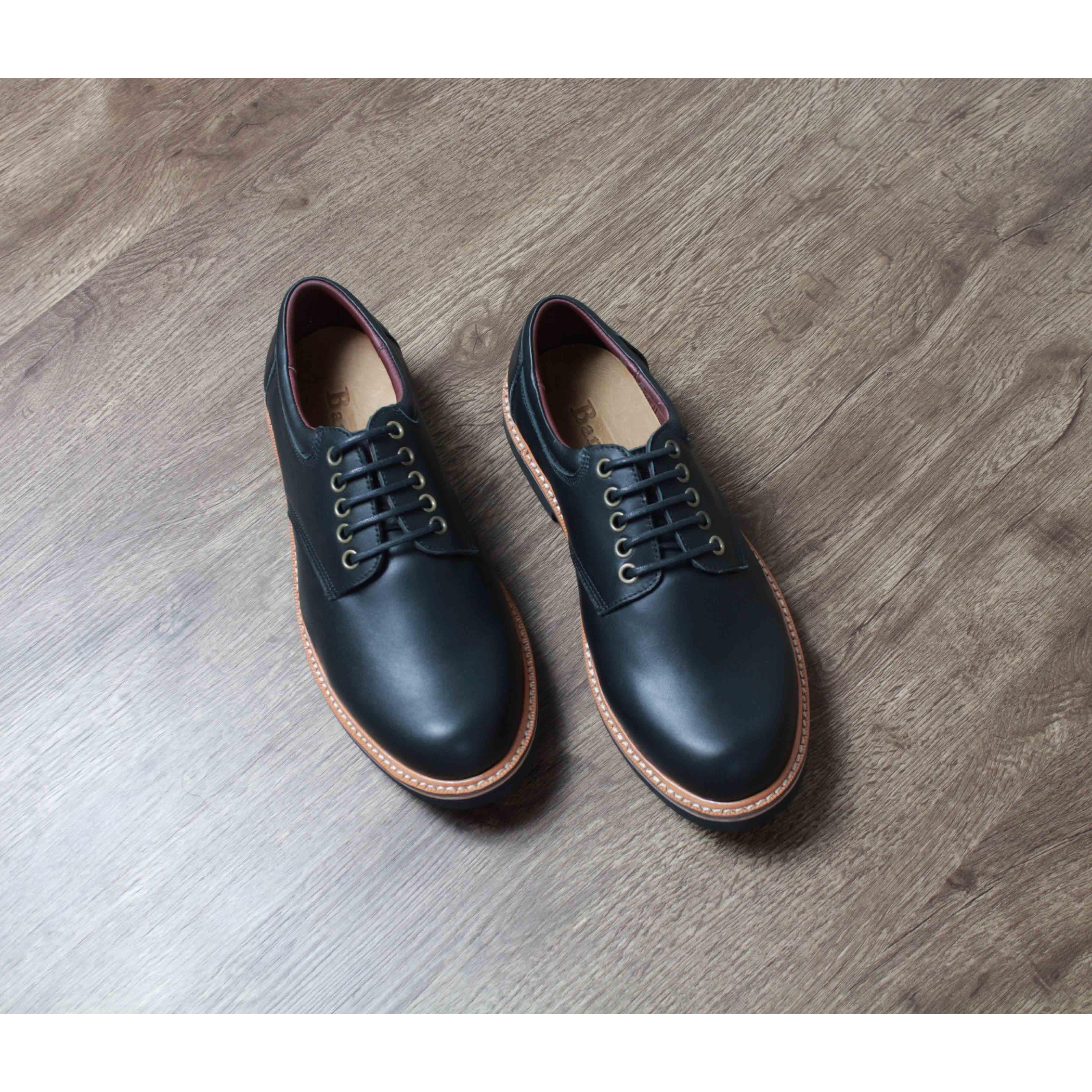 Giày nam cao cấp chính hãng BANULI, kiểu giày tây vintage B2PD3C0 da bò thật, đế cao su tự nhiên