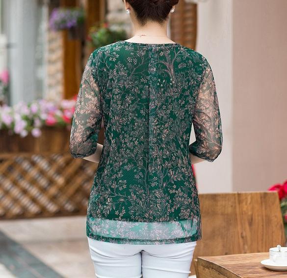 Áo voan trung niên nữ thời trang phối hoa thanh lịch, thiết kế trẻ trung - NP423